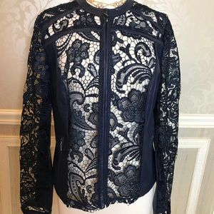 INC leather and lace large Navy moto jacket sexy!